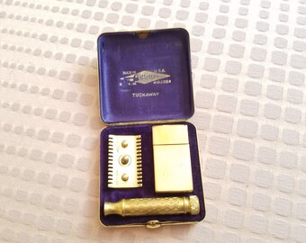 Gillette Tuckaway Razor Shaving Kit 1930s DeLuxe Norfolk vintage antique men's shaving travel size Brass case with blade case
