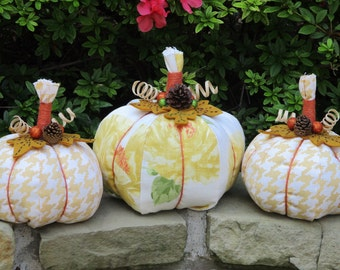 Contemporary Fabric Pumpkin Trio-Fall Home Decor-Autumn Decorating-Thanksgiving Pumpkins-Large Set of 3-Housewarming Gift-Tabletop-Homemade