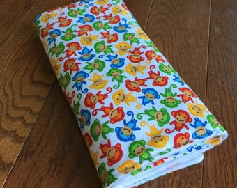 Burp Cloth, Baby Gift, Made to Order, Unisex Monkeys Modern Baby Print, Eco Friendly Baby, Burpie - Baby Shower Gift, Red Blue Green Yellow
