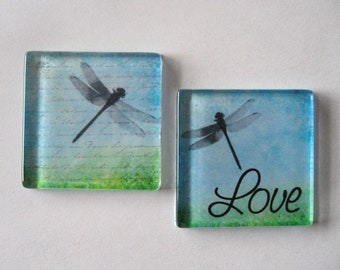 Love with Dragonfliles Square Glass Magnets Set of 2