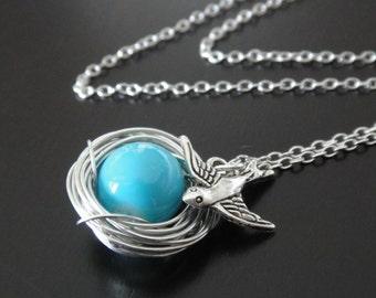 Turquoise Bead Bird Nest Necklace