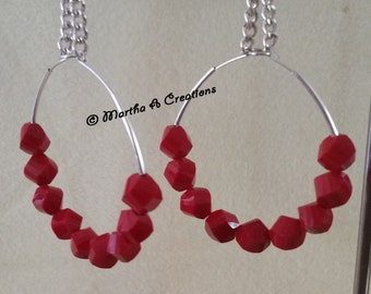 Deep Red Pierced Hoop Earrings