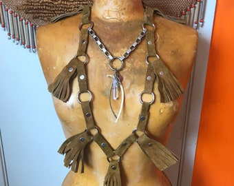 Burning Man Costumes- Handmade Boho Festival Jewelry- Leather Body Harness- Vintage Body Chain- Leather Fringe Vest- Bohemian Necklace
