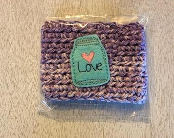 Violet Colored Love Firefly Mason Jar Crochet Coffee Cozy, Drink Sleeve