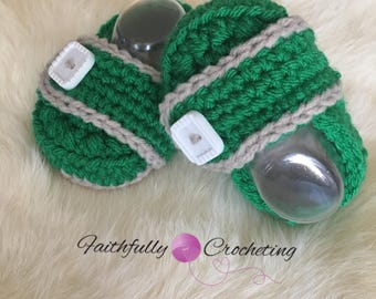 Newborn loafers... green slip on shoes.. baby booties... ready to ship