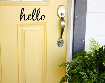Front Door Decal, Personalized Decal, Custom Vinyl Lettering, Hello Vinyl Decal for Door, Wall Art