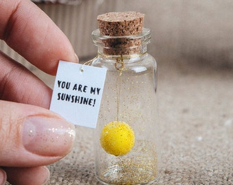 You are my sunshine Boyfriend gift Personalized Girlfriends Gift Romantic Gift Lesbian Girlfriend message in a bottle Cute Gift For Her