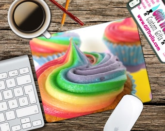 Rainbow Cupcakes Mousepad - Mat - Round or Rectangle - Beautiful Design - Mouse pad Co worker Gift Custom Made Mousepad - Sweet Icing Swirl