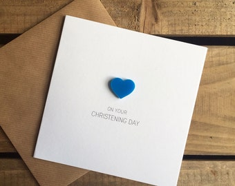 On Your Christening Day with Blue detachable Heart magnet keepsake