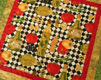 Italian Kitchen Decor, Quilted Square Table Topper, Red Green Black and Gold, Gift Basket Ideas, Quilted Tablecloth, Quilted Table Runner