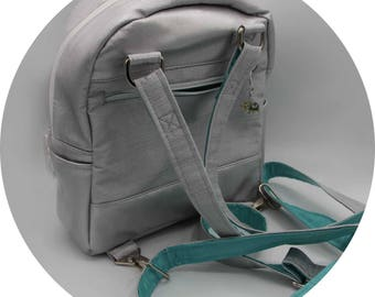 Mini Backpack - Backpack Purse, Silver, Blue, Robin's Egg, Faux Leather, Handmade, Handcrafted