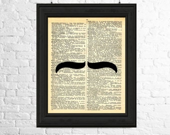 Moustache Art Print, Dictionary Page Art, Moustache Silhouette, Hipster Print, Moustache Poster, Moustache Wall Art, Printable Art