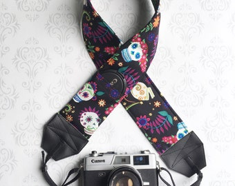 DSLR Camera Strap, Padded with 2 Lens Cap Pockets, Nikon, Canon, DSLR Photography, Photographer Gift,  Gift - Sugar Skulls