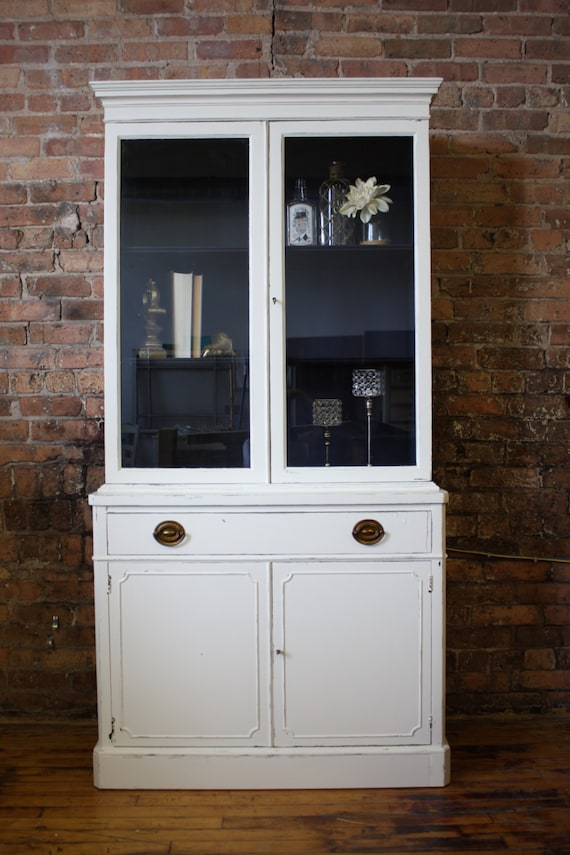 Like this item? - SOLD Distressed Antique White Hutch/China Cabinet With Navy