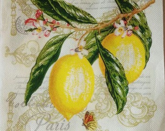 4 Decoupage Paper Napkins, Lemon Napkins Craft