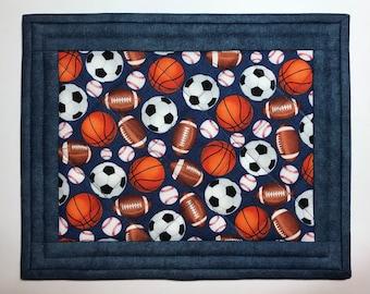 Quilted mug rug, sports fan, mug mat, snack mat, mini-placemat, coaster, Quiltsy handmade, Item #350