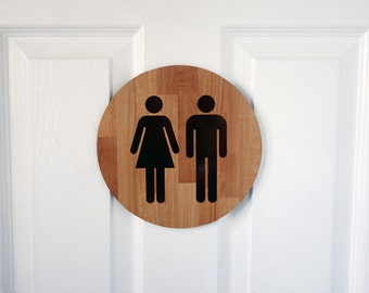 Wood pattern restroom sign
