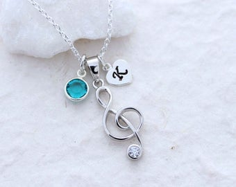 Silver Treble Clef Necklace, Personalized charms, Sterling silver Musical Note, Choose chain. Music Lover. Music Teacher