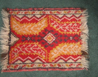 Vintage Small 16x23 Hand Woven Red and Yellow Wool Accent Rug as found
