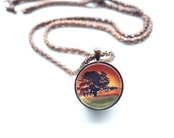 Sunset Landscape With A Single Tree, Vintage Copper, Digital Art Necklace