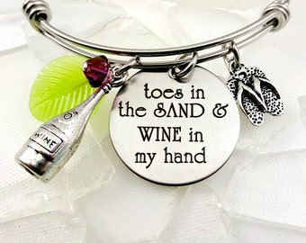 Beach Wine In My Hand Charm Bracelet - Necklace - Toes In the Sand Girl - Cruise Jewelry - Ocean - Beach Lover Bangle