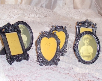 shabby chic pewter frames vintage black six pieces victorian look french country decor