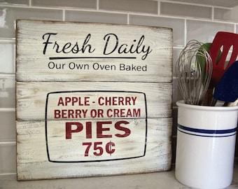 Farmhouse Wall Decor -  Fresh Pies Sign - 14.25 inches x 14.25 inches - Wood Hand Painted Pie Sign - Farmhouse Decor