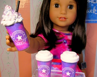 """American Food 18"""" Girl Doll Space Galaxy Coffee Cup for Luciana Vega Star Celestial Starbucks Inspired Mini Take Out Drink Accessory"""