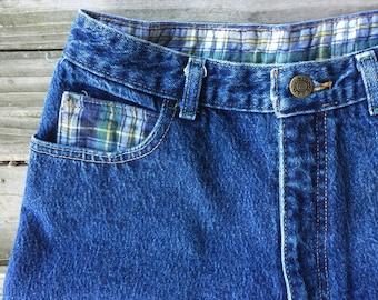 "28"" mom jean high waisted flannel trim"