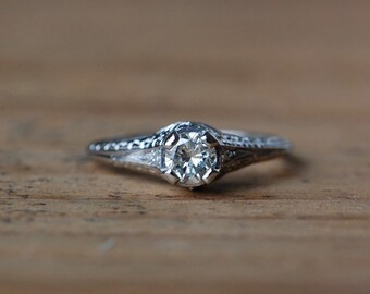Vintage Art Deco 1/3 carat diamond solitaire platinum engagement ring ∙ 1920s platinum solitaire engagement ring