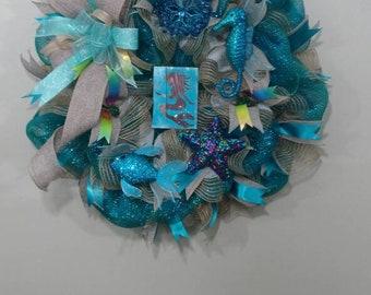 Everyday wreath, Deco mesh, Mermaid wreath, sea wreath, aqua wreath, front door coastal wreath, beach wreath, whimsical, turquoise aqua reef