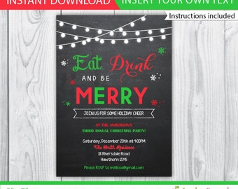 holiday invitation / christmas invitation / christmas party invitation / eat drink and be merry invitation / xmas invite / INSTANT DOWNLOAD