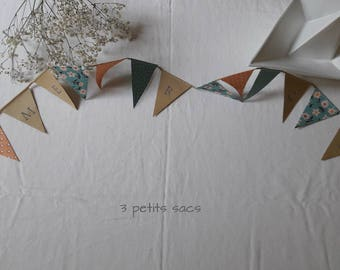 """Garland 17 pennants """"Thank you"""", blue/green, salmon paper and kraft. vintage vibe"""