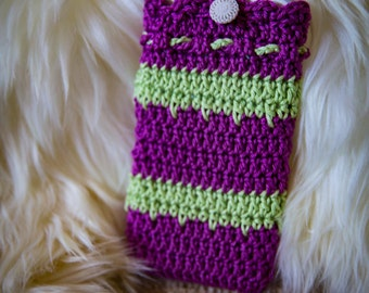 Handmade Crocheted purple and green crocheted cell phone case.