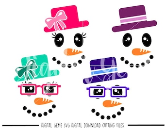 Snow man and Snow Woman Faces svg / dxf / eps / png files. Compatible with Silhouette and Cricut. Digital download. Small commercial Use ok.