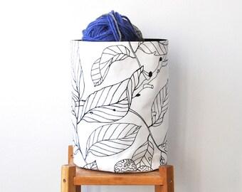 Medium Round Fabric Storage Bin, Nursery Storage Hamper, Medium Fabric Basket, Toy Storage, Supply Storage Basket, Black and White