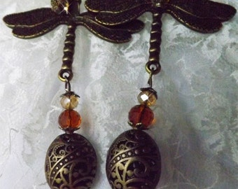 Earrings - Bronze Amber Dragonfly