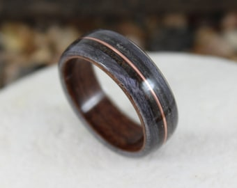 Rosewood & Grey Maple Wooden Ring with Dinosaur Bone, Meteorite and Copper inlays. Bent Wood Rings Any UK or US Size.  Dinosaur Bone Ring.