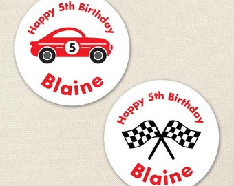 Race Car Party - Custom Stickers - Sheet of 12 or 24