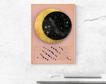 Moon Calendar 2018 / Wall calendar 2018 / lunar calendar - custom / homedecor / wall decor / calendar print, A3, A2