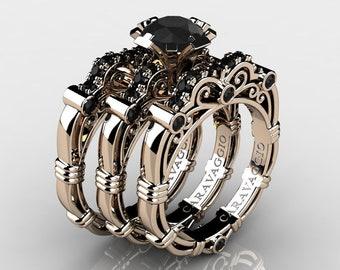 Art Masters Caravaggio Trio 14K Rose Gold 1.0 Ct Black Diamond Engagement Ring Wedding Band Set R623S3-14KRGBD