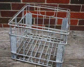 Vintage Metal Milk Bottle Crate - item #2895