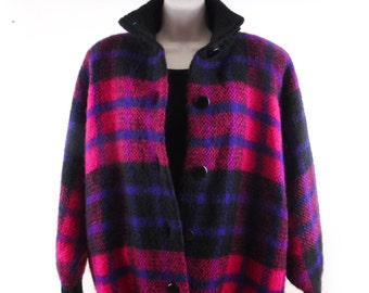 Vintage Mohair Cardigan Sweater Jacket/Lined Knit Wool Jacket/Plaid Black-Pink-Purple/Oversized Batwing/Dolman Sleeve/80's/Women's M-L