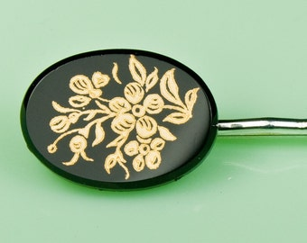 Vintage Black and Gold Floral Glass Hairpin