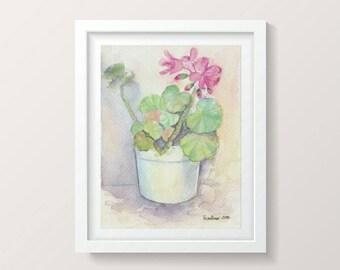 Illustration aquarelle florale, fleurs en aquarelle, peinture florale, petite peinture, décor mural petit, peinture Aquarelle, illustrations originales