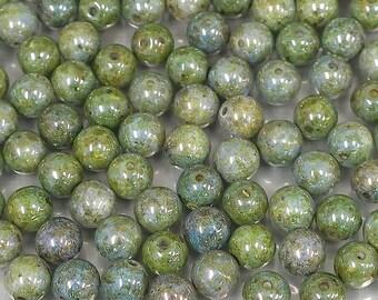 6mm Picasso green round glass druk beads-50 pieces-Bin# 20