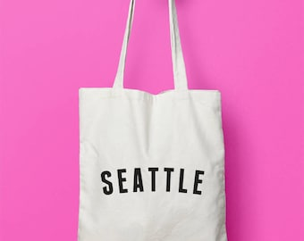 Seattle Tote Bag, City Print, Pike Place Market Bag, Market Tote Bag, Tote Bag, Canvas Bag, Canvas Tote Bag, Market Bag, Black Canvas Bag