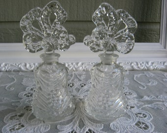 Vintage Pair of Pressed Glass Perfume Bottles, Bow Motif Daubers, Boudoir Decor, Perfume Bottle Collector, Circa 1920