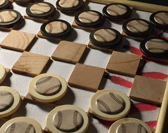 Baseball Themed Checker Board