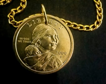 Sacagawea necklace Gold plated chain 14 to 24 in long with lobster clasp jump rings